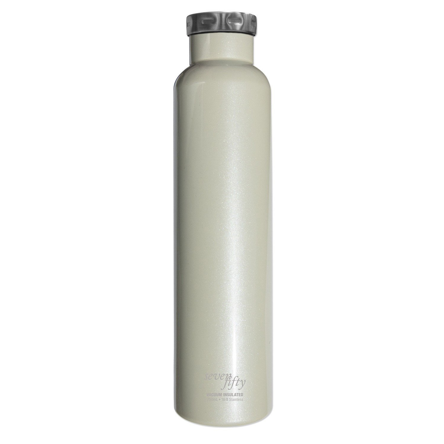 Fifty/Fifty Seven Fifty Double Wall Vacuum Insulated Wine Growler, 18/8 Stainless Steel, 750ml, Pearl White