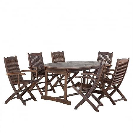 Set da giardino in legno di acacia Tavolo e 6 poltrone