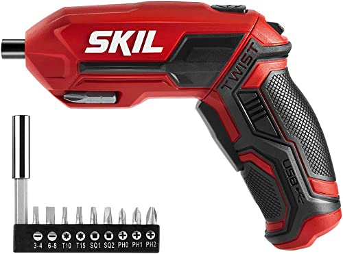 SKIL 4V Pivot Grip Rechargeable Cordless Screwdriver, Includes 9pcs Bit, 1pc Bit Holder, USB Charging Cable – SD561802