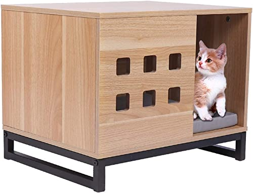 BBVILLA Rectangle Wooden Pet House Cat Boxes Furniture Log Cabin with Entrance and Vents Indoor Kennel Condos for Small Dogs Pets Cats with Bed Mat