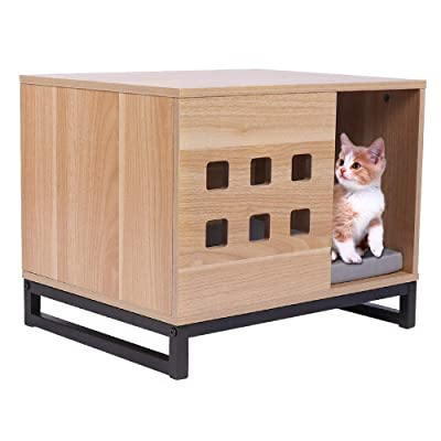 BBVILLA Rectangle Wooden Pet House Cat Boxes Furniture Log Cabin