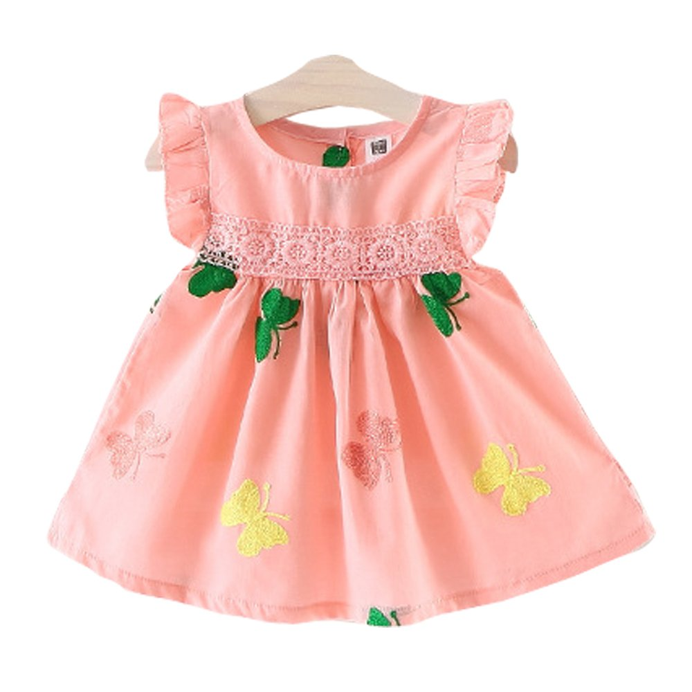 Orinery Baby Girls Summer Dress Embroidery Infant Sleeveless Dress (Pink, 18-24 Months Old)