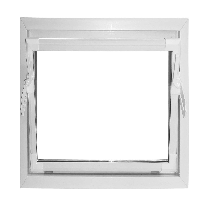 ACO 50x50cm Nebenraumfenster Kippfenster wei/ß Fenster Kellerfenster Isofenster