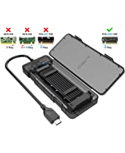 Black Aluminum Case Pisces Key B/B+M GLOTRENDS 2-Bay M.2 to USB C Adapter Enclosure for M.2 NVME SSD Key M and M.2 SATA SSD