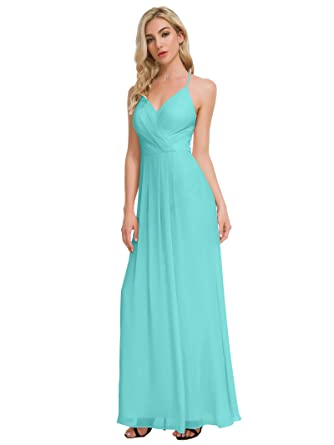 4e8c13db0db Alicepub V-Neck Bridesmaid Dresses Chiffon Long Maxi Prom Dress Party  Evening Gowns for Women