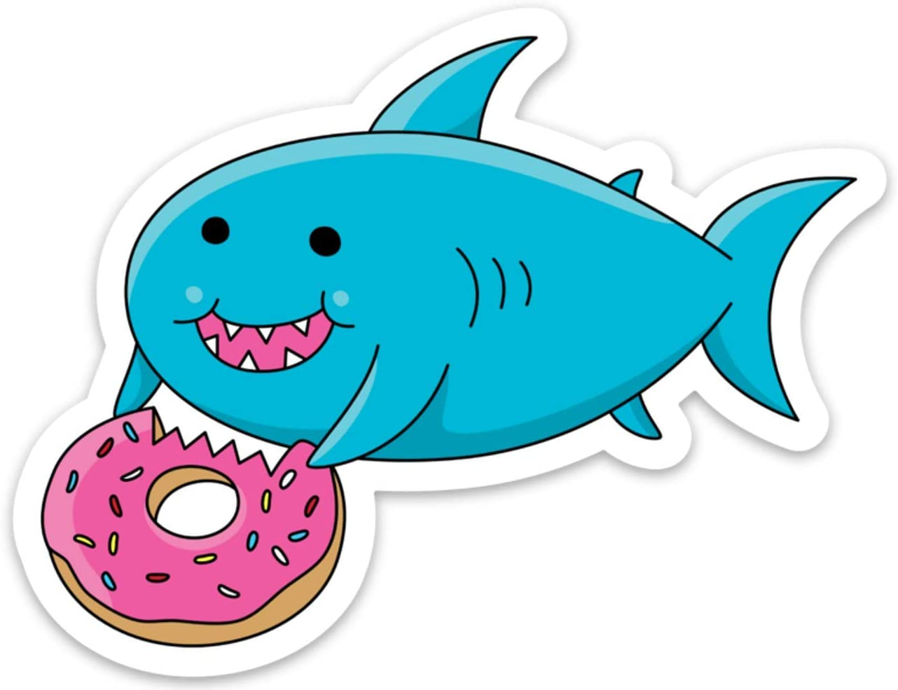 Stickeroonie Sticker Decal Cute Fat Whale Shark Eating Donut Foodie for Laptop Water Bottle etc. 4 x 3 inch