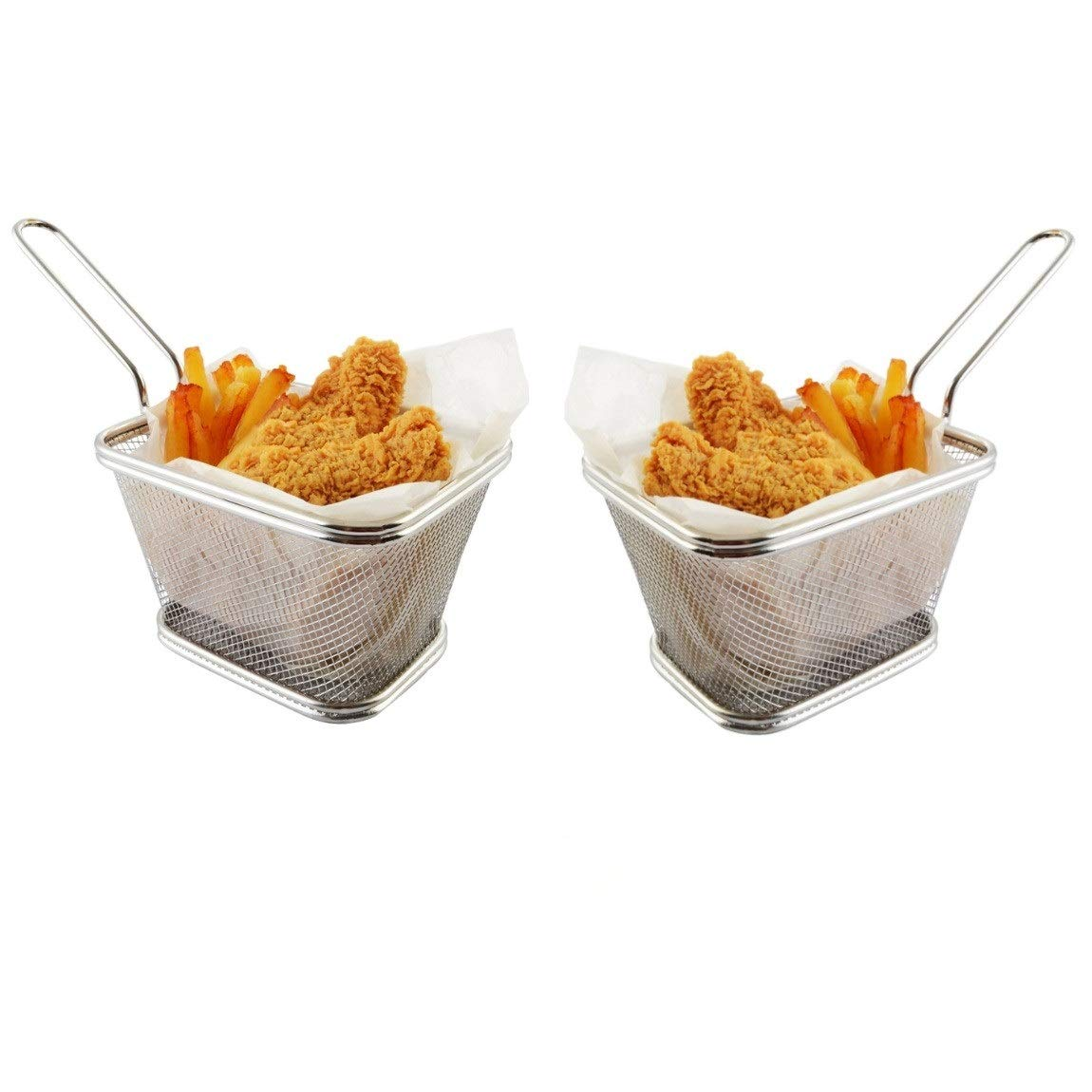 Stainless Steel Mini French Fries Basket Square Fryer Baskets, FDA Grade Kitchen Cooking Tool Food Presentation Tableware (Large 5inch 2pcs pack)