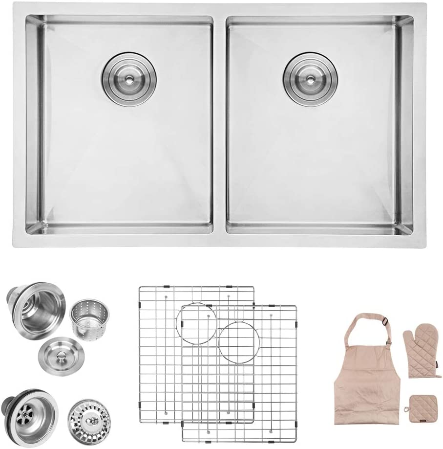 LORDEAR SLJ16001 Modern 32 Inch 16 Gauge 10 Inch Deep Handmade Stainless Steel Farmhouse Apron Front Drop In Undermount 50 50 Double Bowl Kitchen Sink, Sink Including Dish Grid and Basket Strainer