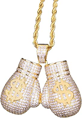 18K Gold Plated Unisex Shiny Cartoon Necklace Hip Hop Punk Party Jewelry