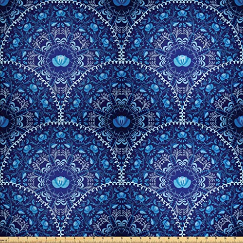 Ambesonne Navy Blue Fabric by The Yard, Circular and Floral Alike Oriental Style Patterned Design Artwork, Decorative Fabric for Upholstery and Home Accents, 3 Yards, Navy Blue White and Blue