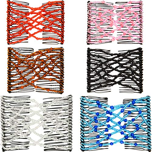 Double Comb - Boao 6 Pieces Beads Hair Combs Magic Elastic Hair Clips Stretchy Hair Comb Double Clips for Women Girls Hair Accessory (9 x 7 cm, Color Set 1)
