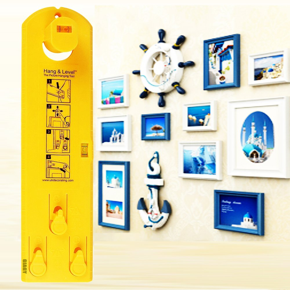 Suspension Measurement Marking Position Tool,Hang and Level Picture Hanging Tool and Horizontal Wall of The Roof, Perfect to Hang Pictures, Mirrors and Clocks, Yellow