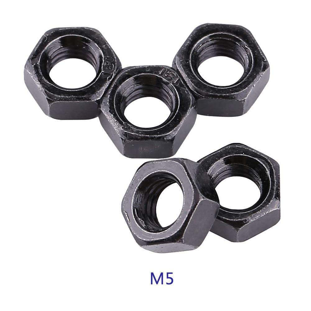 M5 Metric Nut Zinc Plated Hex Nut Hex Hexagonal Nuts Carbon Steel Ship Assembly for Home Office Appliance Communication Equipment