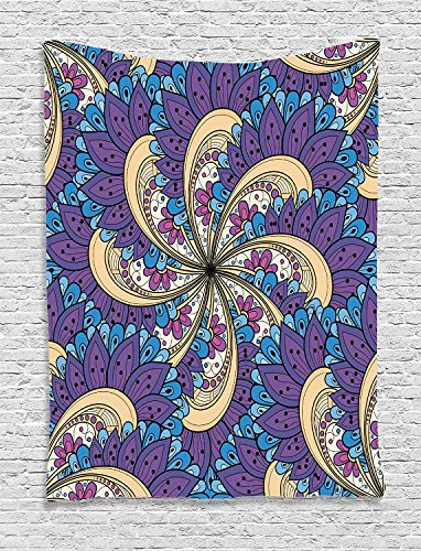 Supersoft Fleece Throw Blanket Batik Spiral Vibrant Florals with Ethnic Colored Contour Features Persian Print Purple Yellow