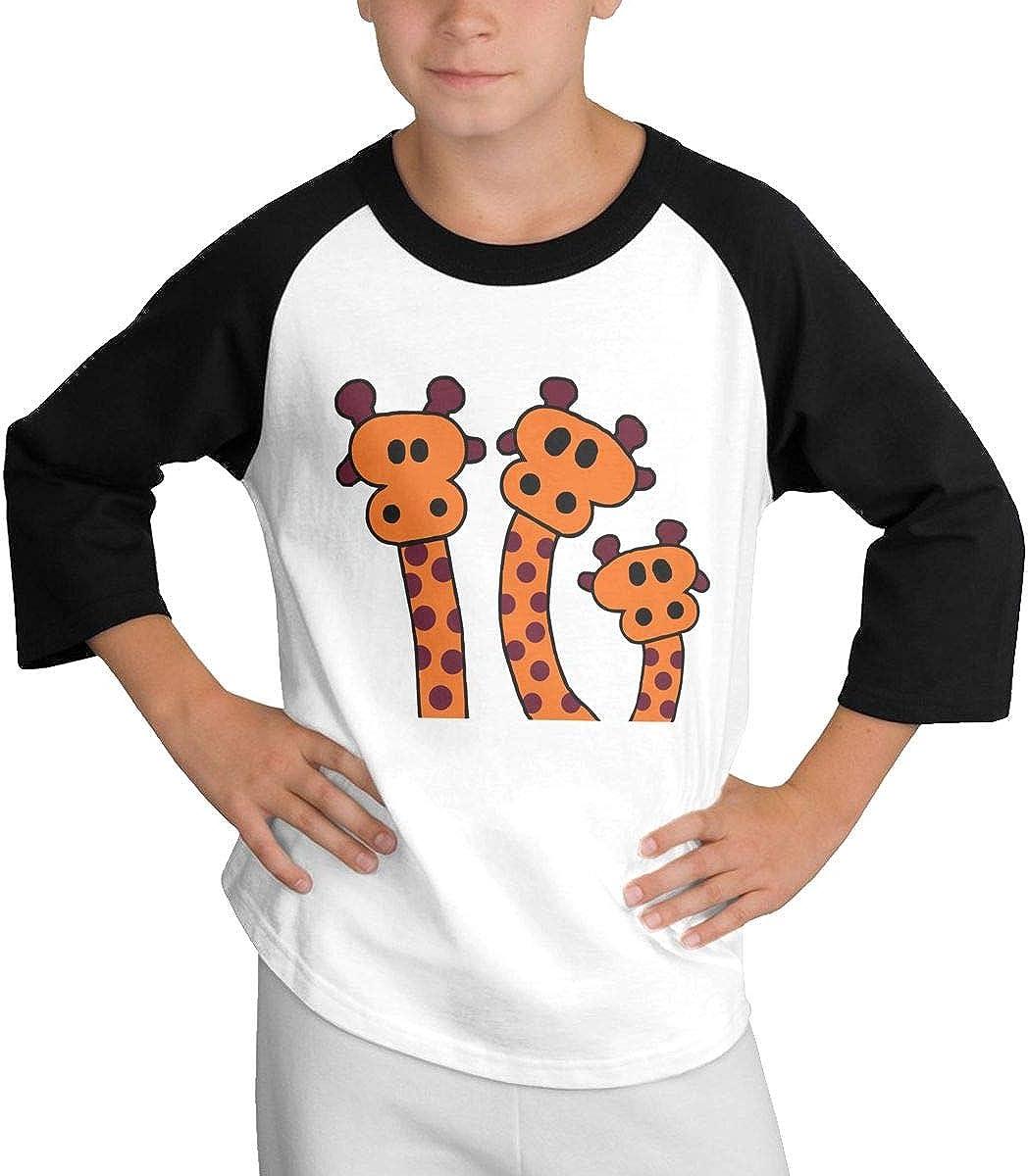 Qiop Nee Cartoon Giraffes Raglan 3//4 Short-Sleeve T Shirts Youth Girl Boys