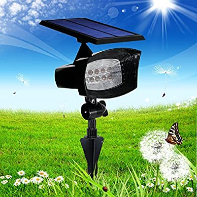 [Upgraded 400 Lumens ] Falove Solar Powered 8 LED ,2 in 1 Installation,Adjustable Light and Solar Panel,Solar Spotlight for Outdoor Garden Patio Garage Pathway Landscape, Etc
