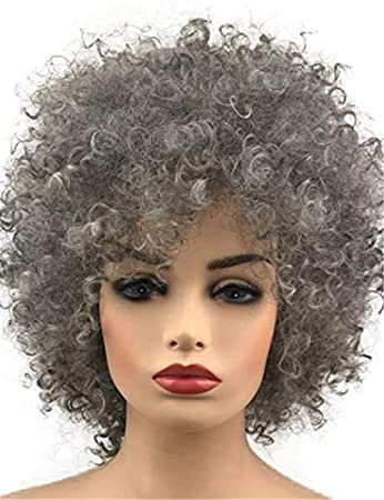 Amazon Com Topwigy Short Gray Synthetic Curly Wig Afro Kinkys