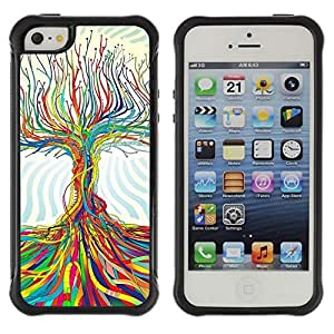 Hybrid Anti-Shock Defend Case for Apple iPhone 5 5S / Tree Of Life