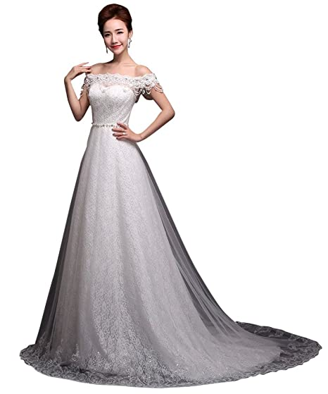 Vimans® Womens Elegant Long Ivory Lace Off Shoulder Prom Dress for Brides