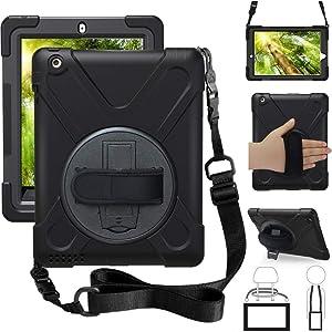 ZenRich iPad 2nd Gen Case, iPad 3rd Gen Case, iPad 4th Gen Case, Kickstand Hand Strap & Shoulder Belt zenrich Shockproof Heavy Duty Rugged Case for iPad 9.7 inch 2/3/4 Generation Tablet, Black