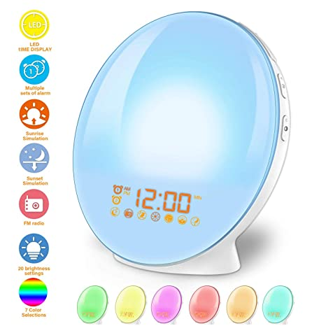 Wake Up Light Alarm Clock Lamp Alarm Clock Radio Sunrise Alarm Clock Fading Sunset with 7 Colors Sleep and Wake Up with PM Radio Light Alarm Clock ...