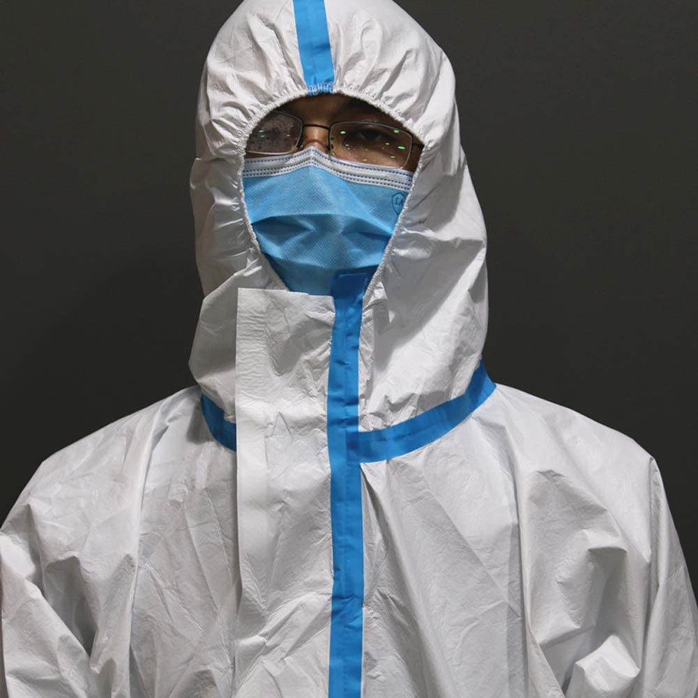 M, White+Blue White Protective Clothing Disposable Coverall with Hood Hazmat Isolation Suit for Lab Chemical Factory Hospital Safety Clothing