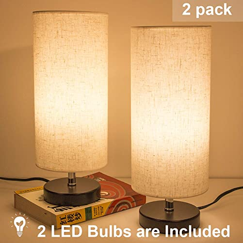 DEEPLITE Bedside Table Lamp 2 LED Bulbs Included, Modern Simple Desk Lamp with Wooden Base and Fabric Shade, Minimalist Nightstand Lamp for Bedroom Living Room Office Set of 2