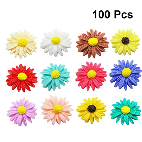 Healifty Resin daisy flower loose flatback cabochons embellishment for scrapbooking craft phone decoration 100pcs assorted color