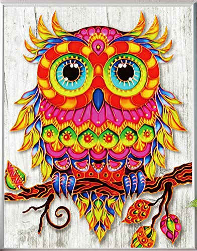 Diamond Painting DIY 5D Special Shape Rhinestones, ABEUTY Colorful Owl on The Tree, Partial Drill Crystal Diamond Art Kits