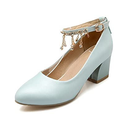 927d9e16b5c AmoonyFashion Women s PU Solid Buckle Pointed Closed Toe Kitten-Heels Pumps-Shoes