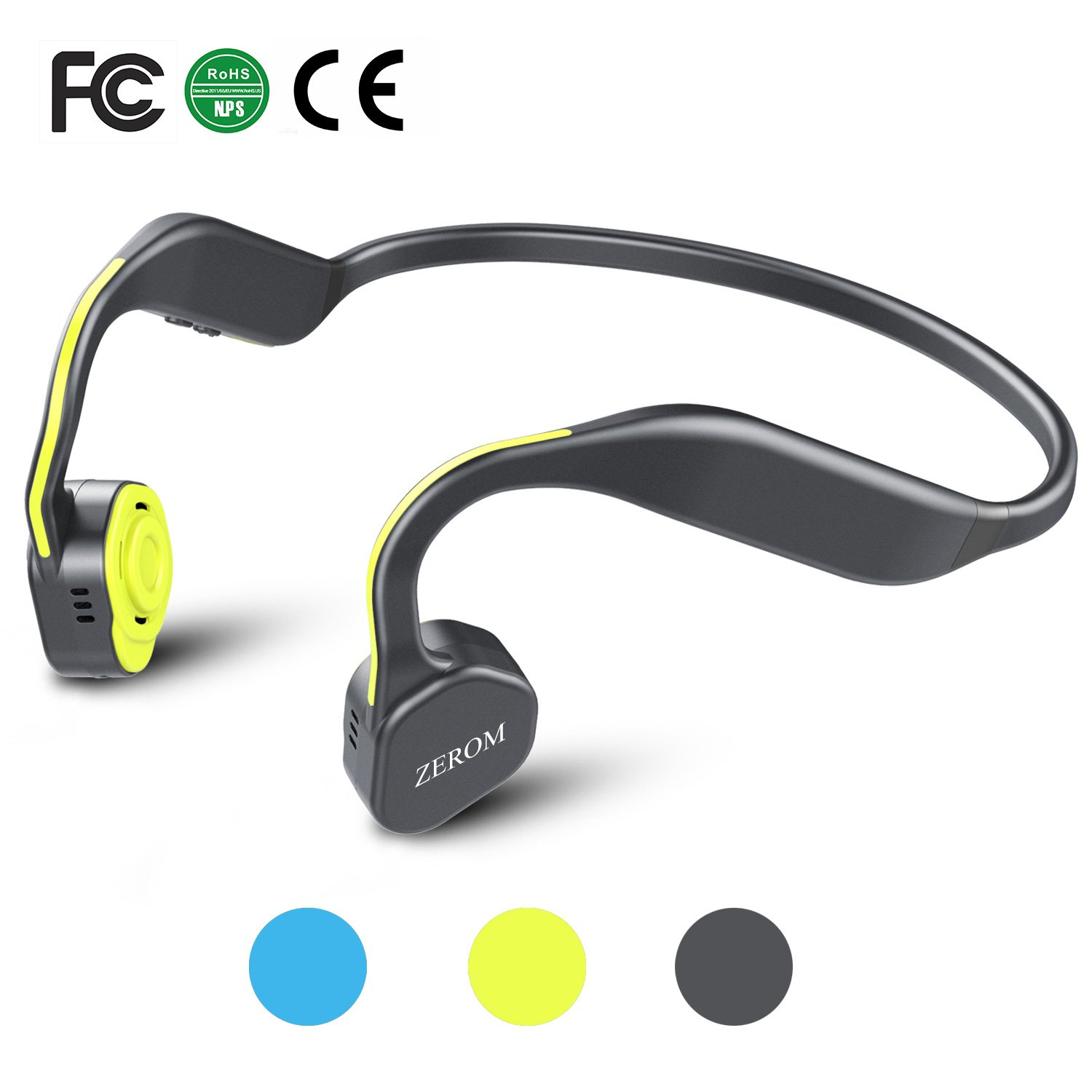 Bone Conduction Headphones Bluetooth Wireless Titanium HiFi Stereo Sports Headsets with Mic for Running Driving Cycling IP55 Waterproof Open Ear compatible with iphone Android Bright Yellow