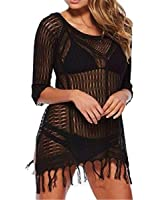 DQdq Women's Crochet Tassel Bathing Suit Cover Up