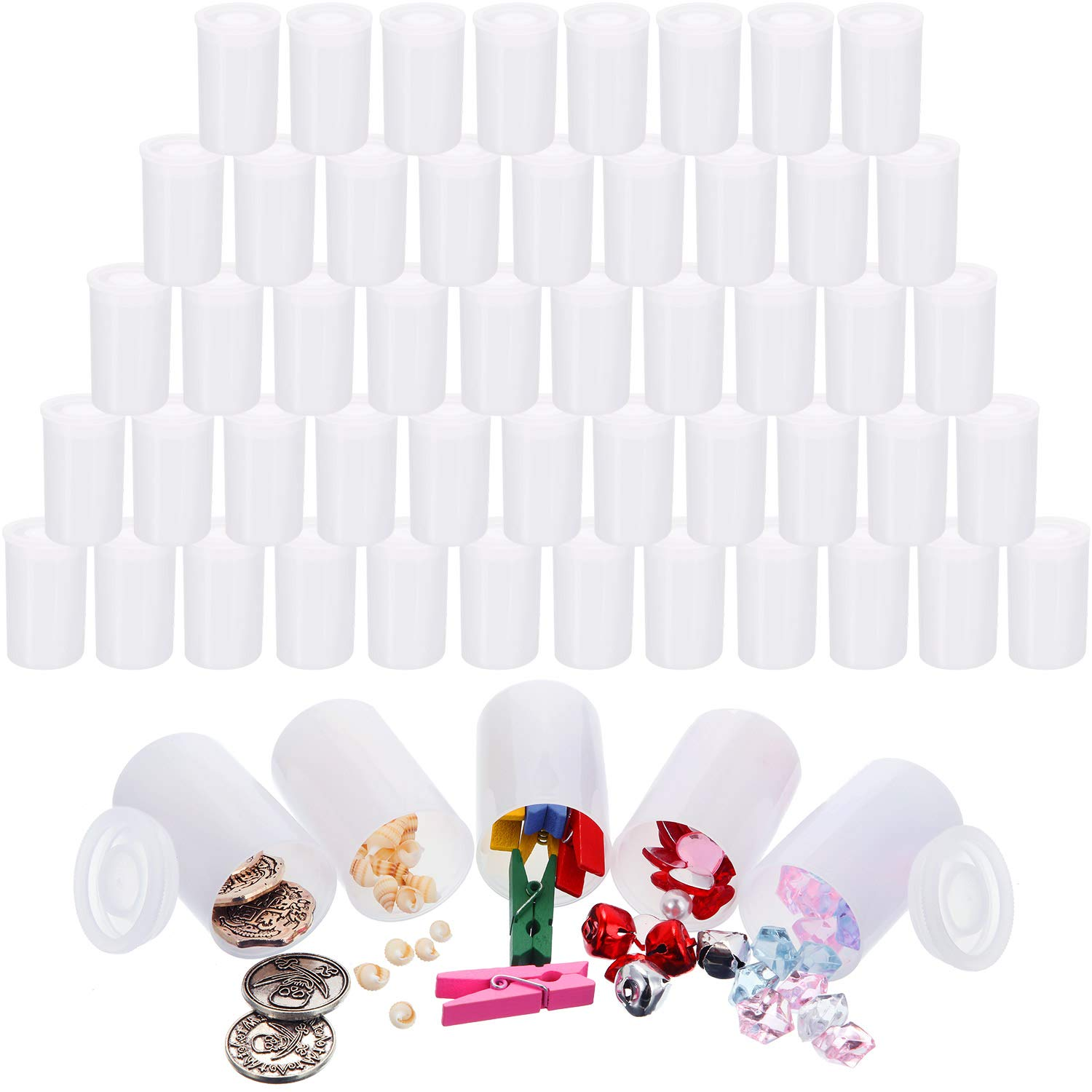Jovitec 60 Pieces White Film Canisters with Caps, 35 mm Empty Camera Reel Storage Containers Case with Lids, Films Developing Processing Tube for Storing Films, Small Accessories by Jovitec