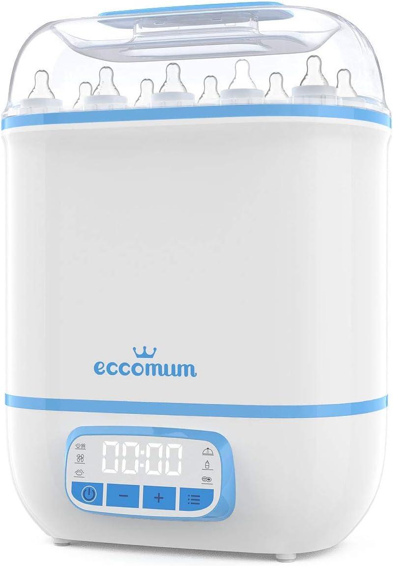 5 en 1Esterilizador de Biberones Eccomum 360 ° Inteligente Esterilizador y Secadora de Biberones, Filtro HEPA, Gran Capacidad, Apagado Automático, Esterilizar, Secar, Calentar, frutos secos, BPA-Free