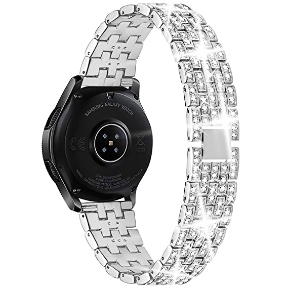 Supoix Compatible for Samsung Galaxy Watch 42mm Band, 20mm Crystal Rhinestone Diamond Metal Smartwatch Replacement Jewelry Bracelet for Galaxy Watch ...
