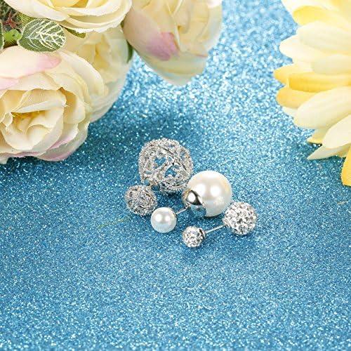 JOERICA 3 Pairs Crystal Double Ball Stud Earrings for Women Girls Faux Pearl Beads Earrings Stud Double Side ES14-DBS