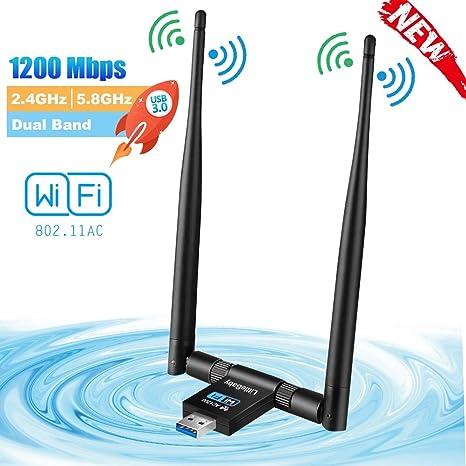 LittleBaby USB WiFi Adaptador Receptor WiFi, 1200Mbps Antena con USB 3.0 Wireless 5DBI Banda Doble