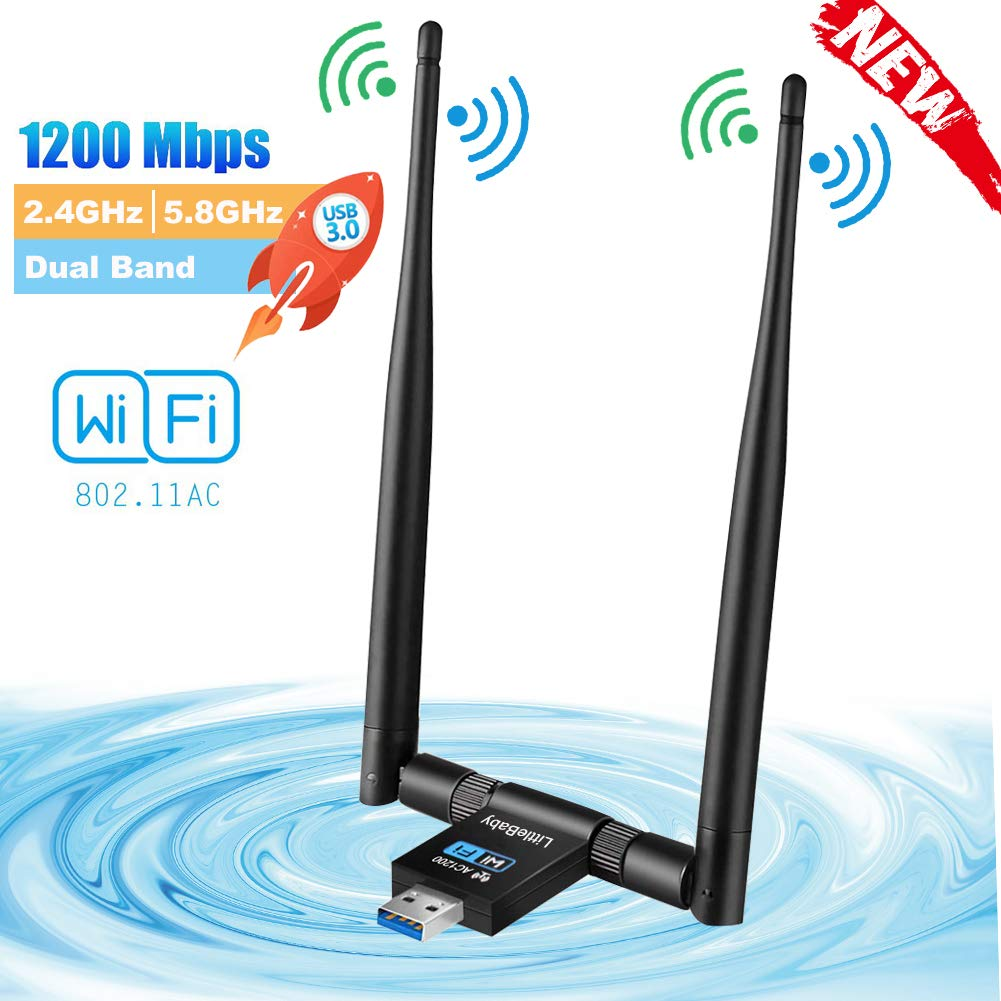 LittleBaby USB WiFi Adaptador Receptor WiFi, 1200Mbps Antena con USB 3.0 Wireless 5DBI Banda Doble