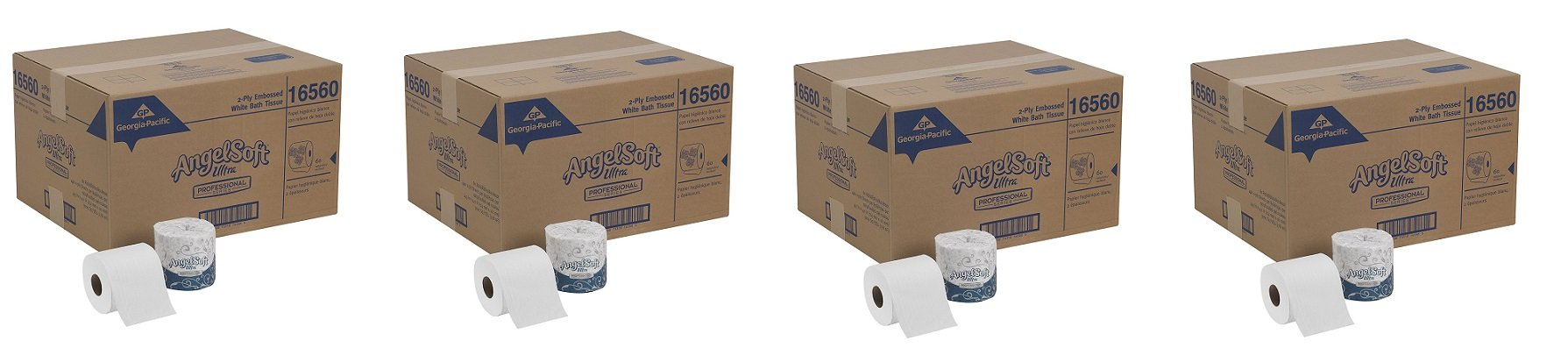 Georgia-Pacific Angel Soft Ultra Professional Series, 16560, White, 2-Ply Premium Embossed Toilet Paper, 4.05'' Length x 4.5'' Width (Case of 60 Rolls, 400 Sheets Per Roll) (4-(Case of 60 Rolls))
