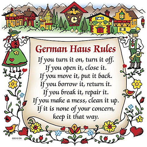 Essence of Europe Gifts E.H.G German Gift Ceramic Wall Hanging Tile: German Haus Rules. -