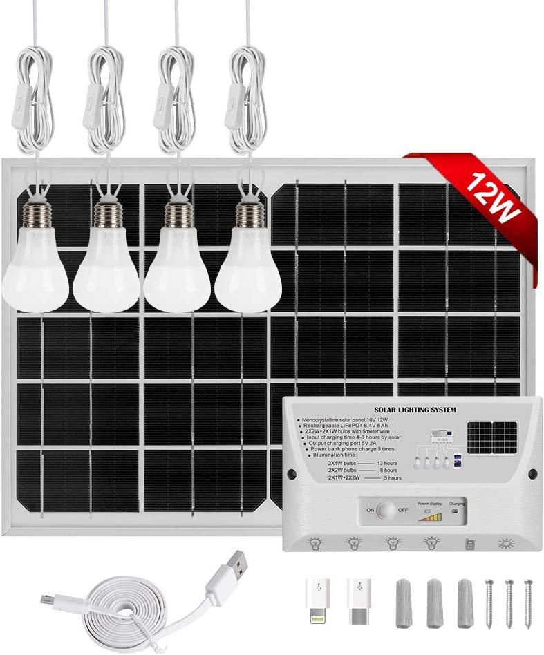 GVSHINE Solar Panel Kit, 9V 12W Portable Solar Panel RV Solar Panel Kit + 4 LED Bulbs + 6000mah Charger Controller + Phone Charger Cable Indoor Outdoor Solar Light for Homes Shed Emergency Camping