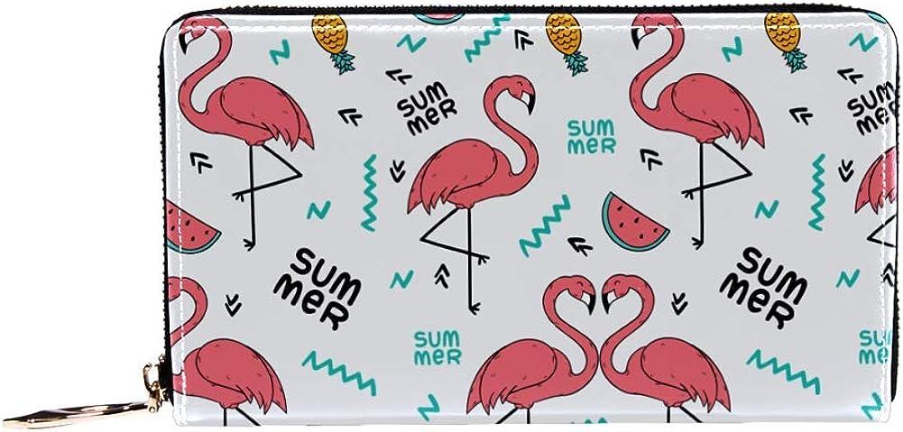 Womens Zip Around Wallet and Phone Clutch,Summer Flamingo Print,Travel Purse Leather Clutch Bag Card Holder Organizer Wristlets Wallets
