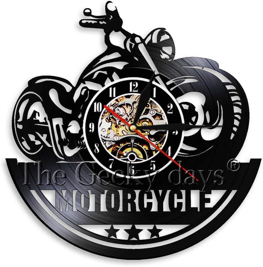 FDGFDG Reloj de Pared de Motocicleta Decoración de Pared Vintage para Garaje Tienda de Motos Reloj de Vinilo Colgante Negro Relojes de Pared 3D: Amazon.es: Hogar