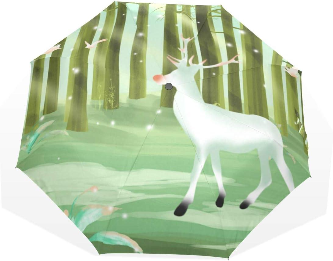 LUPINZ - Paraguas de poliéster con diseño de ciervo con pájaros voladores, protección UV, 3 pliegues, para sol, lluvia, exteriores, hombres y mujeres