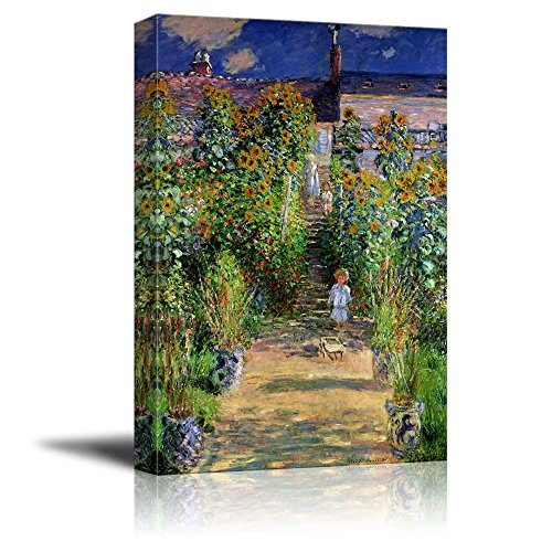 wall26 - The Artist's Garden at Vetheuil by Claude Monet - Canvas Print Wall Art Famous Oil Painting Reproduction - 16