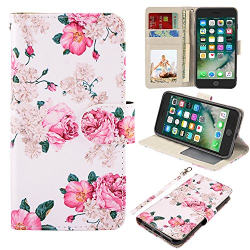 UrSpeedtekLive iPhone 7 Plus/8 Plus Wallet Case, Premium PU Leather Flip Case Cover w/Card Slots & Kickstand Compatible with Apple iPhone 7 Plus/8 Plus,Flower 2