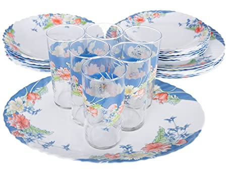 Dajar Florine Dinner Set 25 Piece with Jars Arcopal, White/Blue ...