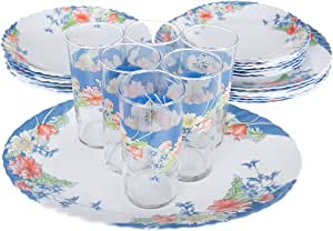 Dajar Florine Dinner Set 25 Piece with Jars Arcopal, 33475, White/Blue/Yellow, Glass