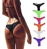 FOCUSSEXY Women's Hot Summer Brazilian Beachwear Bikini Bottom Thong Swimwear