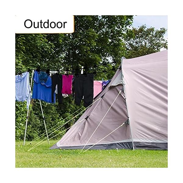61MsmciPwuS Powmag Wäscheleine ausziehbar, Camping Zubehör Wohnmobil, 180-340 cm, Camping Wäscheleine Reise Outdoor, Flexible…